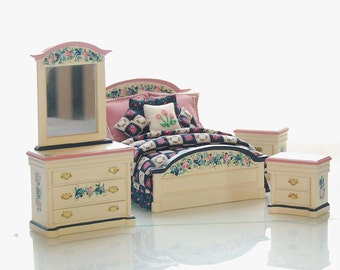 Dark Navy Blue & Rose Pink Country PATCHWORK Quilted Hand-painted Dollhouse Miniature Custom Dressed Bed Bedroom Set
