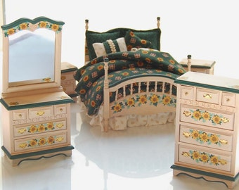 SUNFLOWER SUITE Country Charm Hand-Painted Miniature Dollhouse Dark Green on Whitewash Bed Bedroom Set 1:12 Custom Dressed