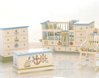 SHIPS AHOY Nautical Nursery Dollhouse Miniature Hand-painted Baby's Crib Set Custom Dressed Hand Painted Bedroom