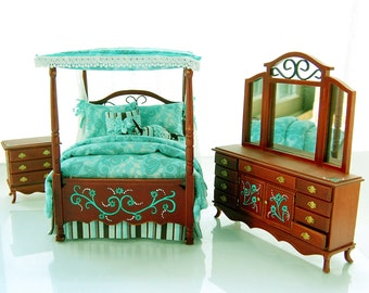TEAL & CHOCOLATE BROWN Victorian Canopy Bedroom Set Hand-Painted Dollhouse Miniature 1:12 Custom Dressed