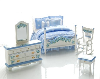 BELLA BLUE Hand Painted Dollhouse Miniature Furniture Bed Bedroom Set - Polka Dots 1:12 Custom Dressed Hand Painted