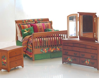 AUTUMN MELODY Dollhouse Miniature Artisan Hand-Painted Master Custom Dressed Bed Bedroom Set 1:12 Harvest Colors