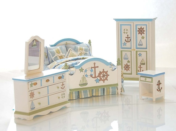 SHIPS AHOY Nautical Dollhouse Miniature Hand Painted Bedroom