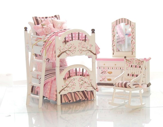 PINK & Brown Dollhouse Miniature BUNK BED Girl's Bedroom Set - Chocolate Covered Cherry Blossoms Custom Dressed