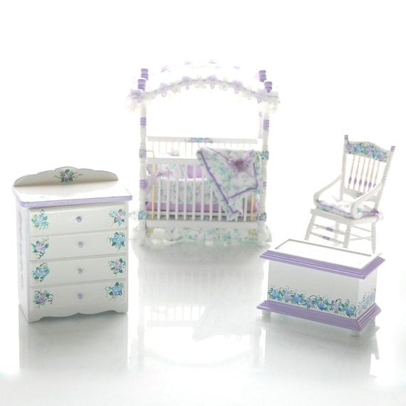 Lavender Blue Pastel Hand Painted Canopy Crib Nursery