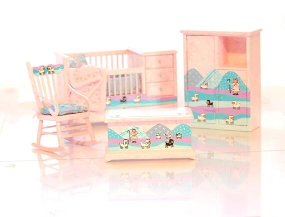LITTLE BO PEEP Hand-Painted Miniature Nursery Crib Set - Pastel Pink Aqua - Nursery Rhyme 1:12 Dollhouse Furniture