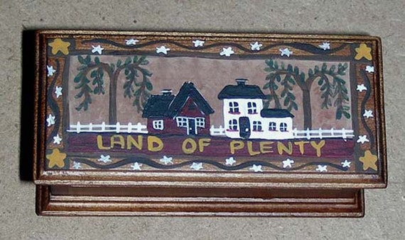 AMERICANA Folk Art Blanket Chest - Land of Plenty - Hand-Painted Dollhouse Miniature Furniture 1:12