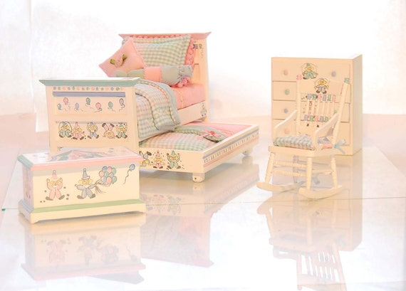 PASTEL CIRCUS CLOWNS Dollhouse Miniature Child's Trundle Bed Bedroom 4 pc Set 1:12 Custom Dressed Hand Painted