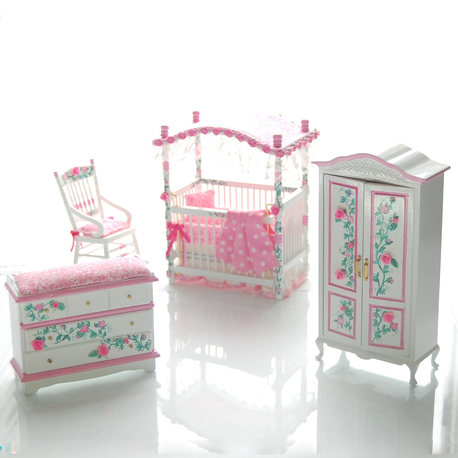PINK & WHITE Victorian Baby Nursery Hand-Painted Dollhouse