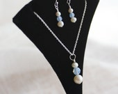 Custom Pendant Set, Pearl Pendant Set, Pearl & Crystal Pendant Necklace and Earrings, Custom Colors, Made to Order, Bridesmaid Jewelry
