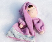 Waldorf Inspired soft gnome, pocket, lilac blanket doll