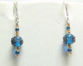 Ocean Blue Glass Drop Earrings