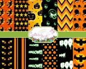 "Halloween Digital Paper for scrapbooking, card making, photographers, etc. 8.5"" x 11"" OR 12"" x 12"""