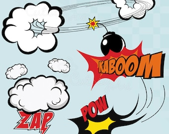 Superhero clipart, hero, comic book, Personal and Commercial Use