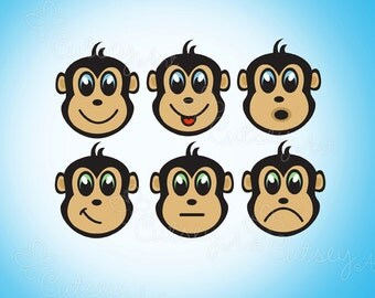 Monkey face Clipart, Personal and Commercial Use