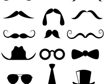 Mustache Clipart, Personal and Commercial Use