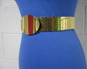 80's Gold Metal Stretch fish Scale Belt with big Buckle