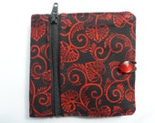 Black and Red Bifold wallet with coin pouch