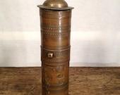 Antique Brass Turkish Hand-Crank Travel Coffee Grinder or Spice Mill