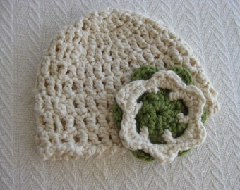 Organic Cotton Crochet Baby Hat with Flower Cream and Pistachio Green OOAK