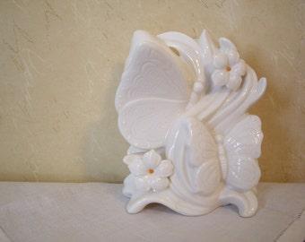 Sale - Vintage White Butterfly Nightlight, Butterfly statue