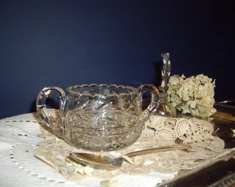 Antique Crystal Sugar Bowl, EAPG and Cut