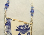 Broken China Jewelry Pendant Necklace Blue Willow Sterling Silver Chain Included