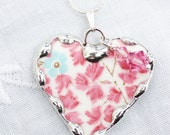 Broken China Jewelry, China Heart Pendant Necklace,  Pink and Aqua Chintz, Clarence Bone China, Sterling Silver Chain