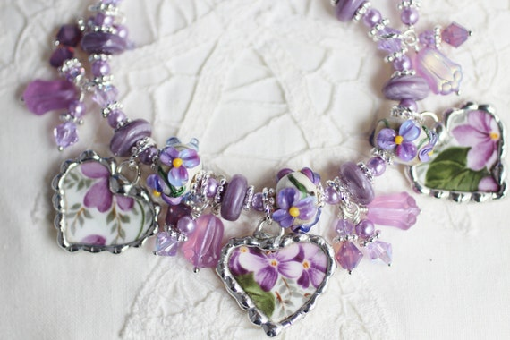 Broken China Bracelet, China Heart Charms, Handmade Lampwork Beads, Violet, Sterling Silver FlowerToggle Clasp