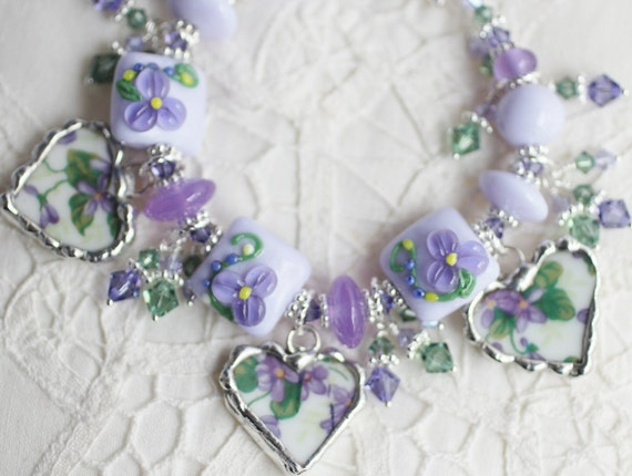 Broken China Bracelet, China Heart Charms, Handmade Lampwork Beads, Sterling Silver Heart Toggle Clasp