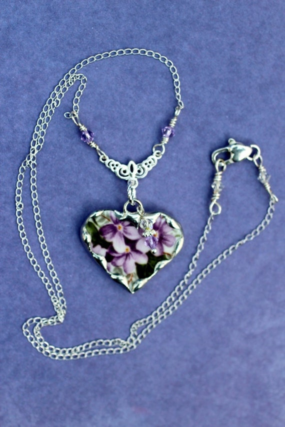 Broken China Jewelry, China Heart Pendant Necklace, Violets China, Sterling Silver Chain, Sterling Silver Filigree Connector