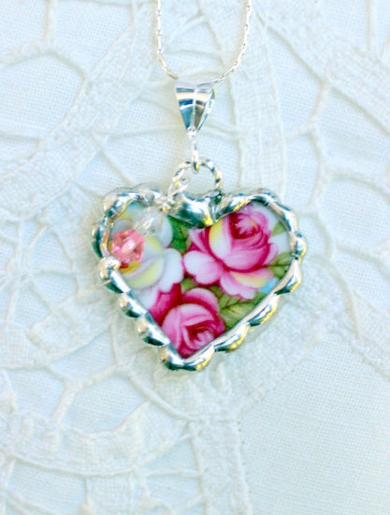 Broken China Jewelry, China Heart Pendant Necklace, Pink Roses, Sterling Silver Chain