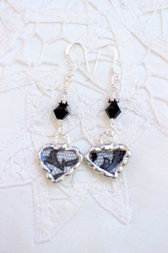 Broken China Jewelry, China Heart Earrings, Royal Albert Senorita, Sterling Silver Earrings