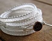 White AB Leather Beaded Wrap Bracelet Chan Luu Style