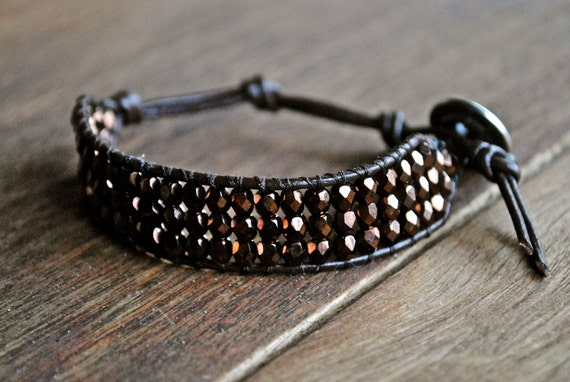 Bronze and Brown Stacked Beaded Leather Bracelet Chan Luu Style