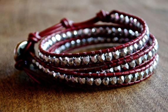 Silver and Maroon/Red Beaded Leather Wrap Bracelet Chan Luu Style