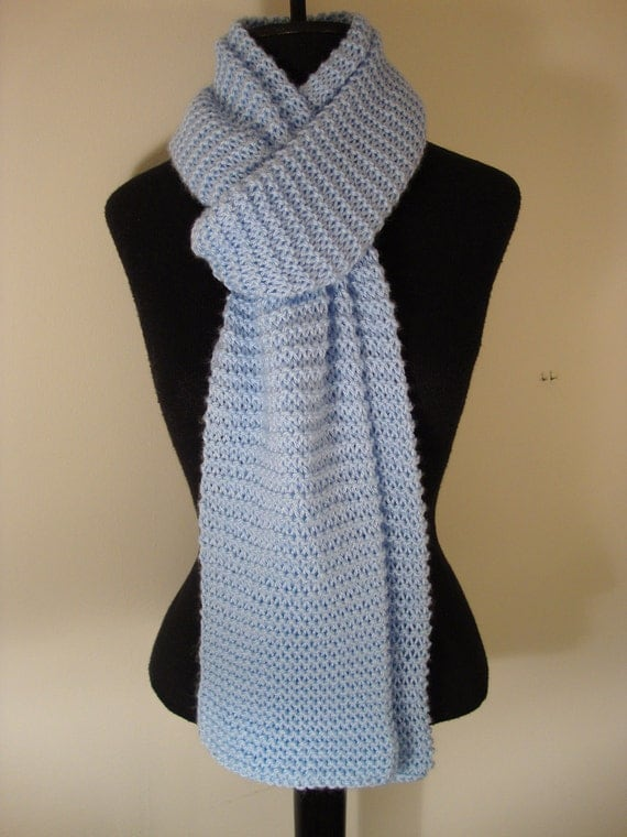 Powder Blue.  Hand Knitted, super soft long  scarf.   Unisex