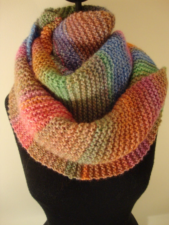 Winter in Pastels: Extra Long, Wool Blend, Multi-color, Super soft Hand knitted Scarf.