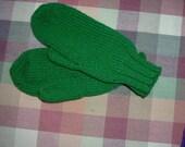 Green Hand Knit Mittens