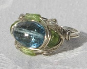 Enchanting LONDON BLUE TOPAZ & Peridot Wire Wrapped Ring - Sz. 6.5