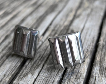 Silver Art Deco vintage pressed glass sterling post earrings