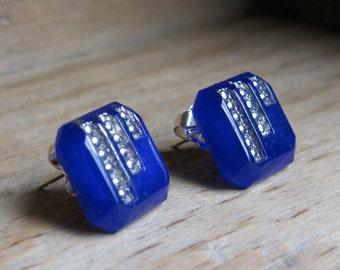 Blue Art Deco vintage pressed glass sterling post earrings