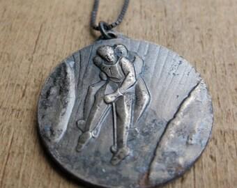 BOB SLEDDING medallion and sterling necklace