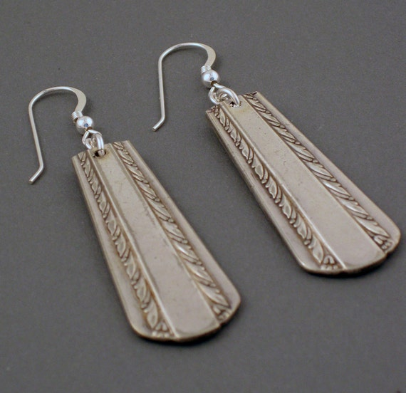 recycled silverware handle earrings