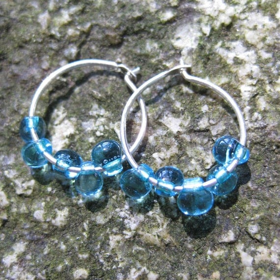 raindrops AQUA glass tiny sterling HOOP earrings