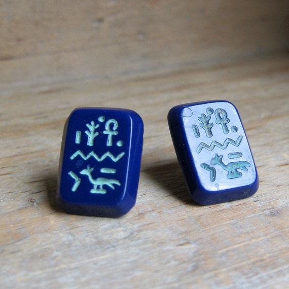 Blue EGYPTIAN HIEROGLYPH vintage pressed glass sterling post earrings