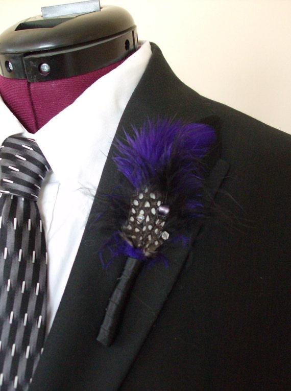 Black/Purple Feather Boutonniere