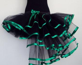 Black Green Burlesque TuTu Skirt Satin Trim U.S. 4 -10 U.K.6 -12