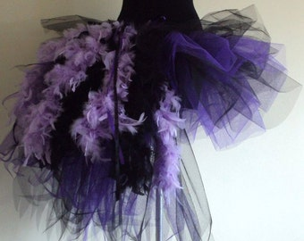 Purple Black Burlesque Feather tutu skirt please select size at checkout.