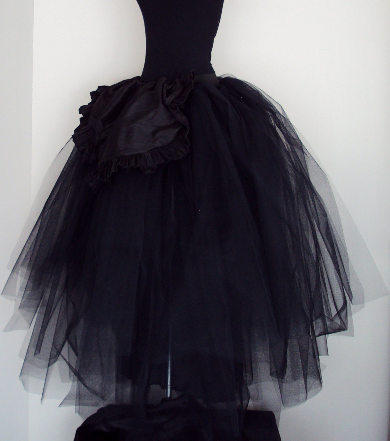 Wedding Black Tulle Dress bridal wedding skirt black tulle with silk front size 4